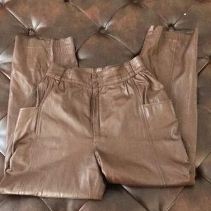 Pants - Vintage 80's High Waist Brown Leather Pants 25